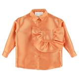 CAROLINE BOSMANS Pre-Spring Capsule Satin Blouse with Oversize Pocket in Tangerine Glossy Orange