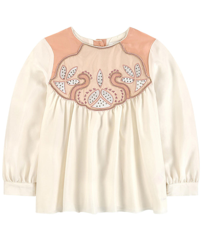 CHLOE Mini-Me Couture Silk blouse with embroidered yoke detail