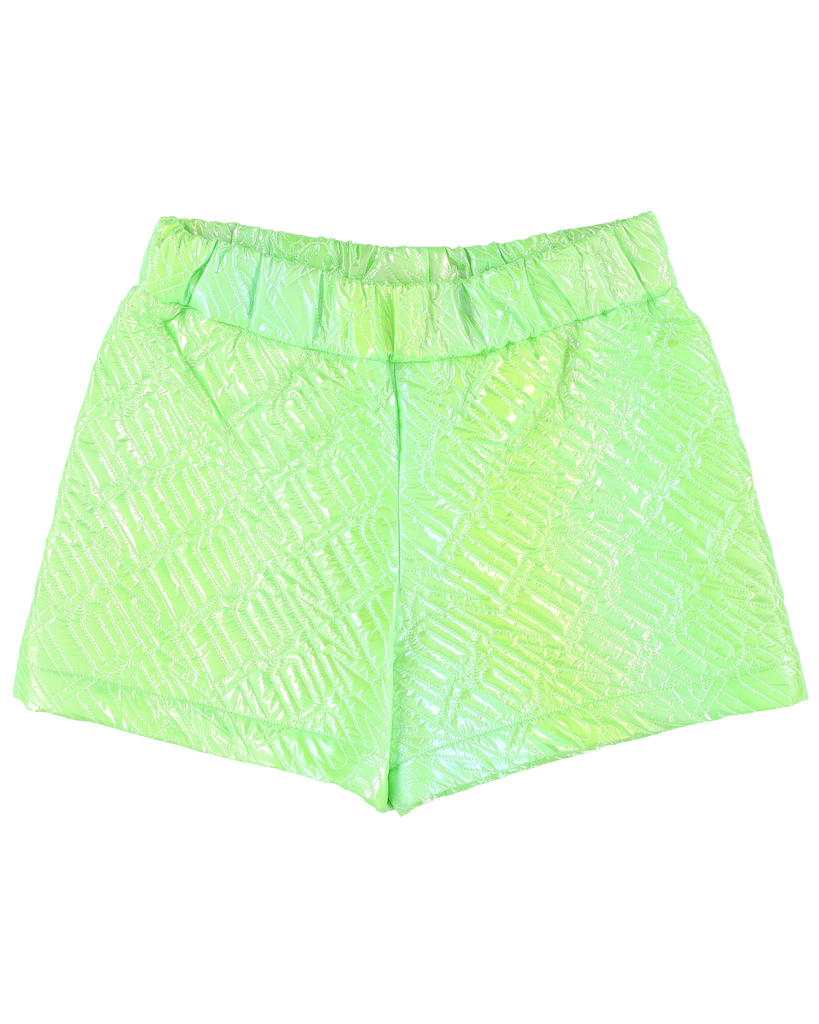 "CAROLINE BOSMANS ""LIFE IS NOT BETTER IN PYJAMAS"" Metallic Green Textured Shorts"