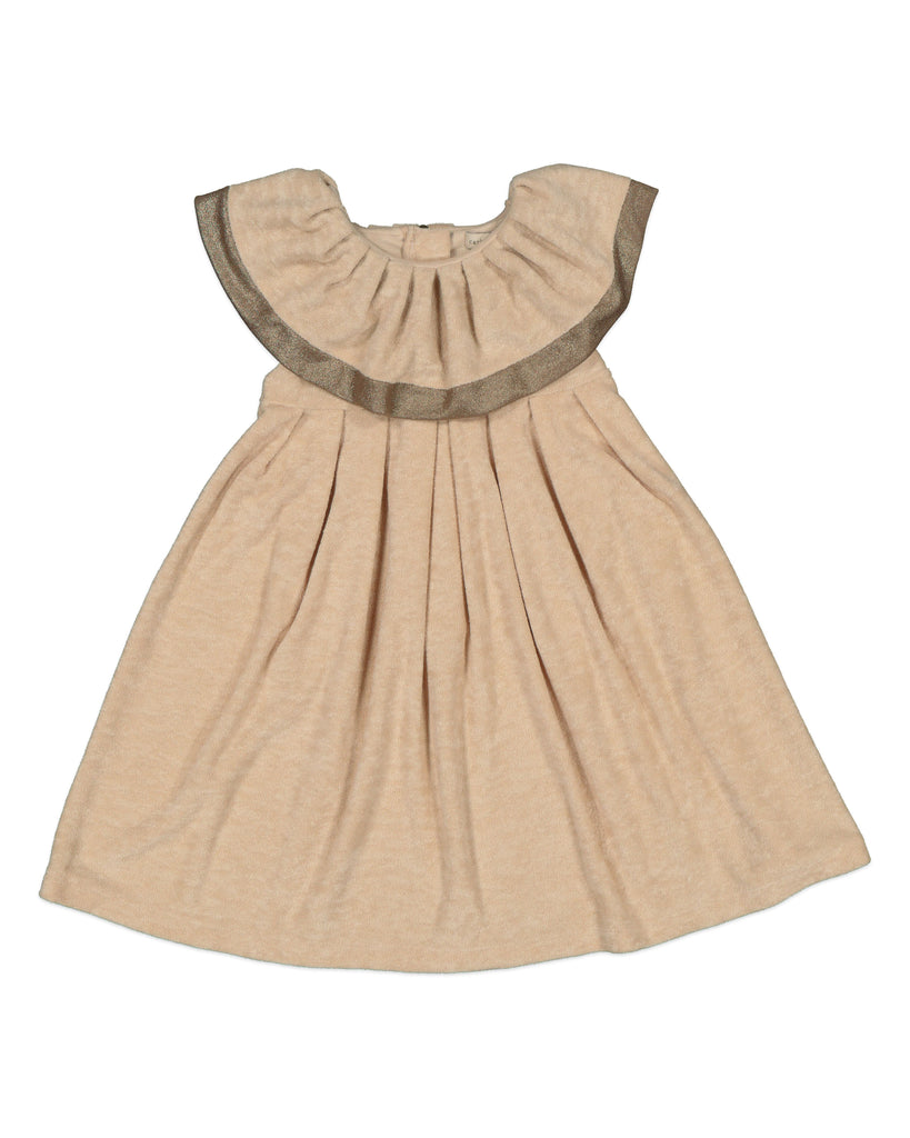 CARBON SOLDIER 'Homegrown' Onion Terry Dress in Beige and Gold