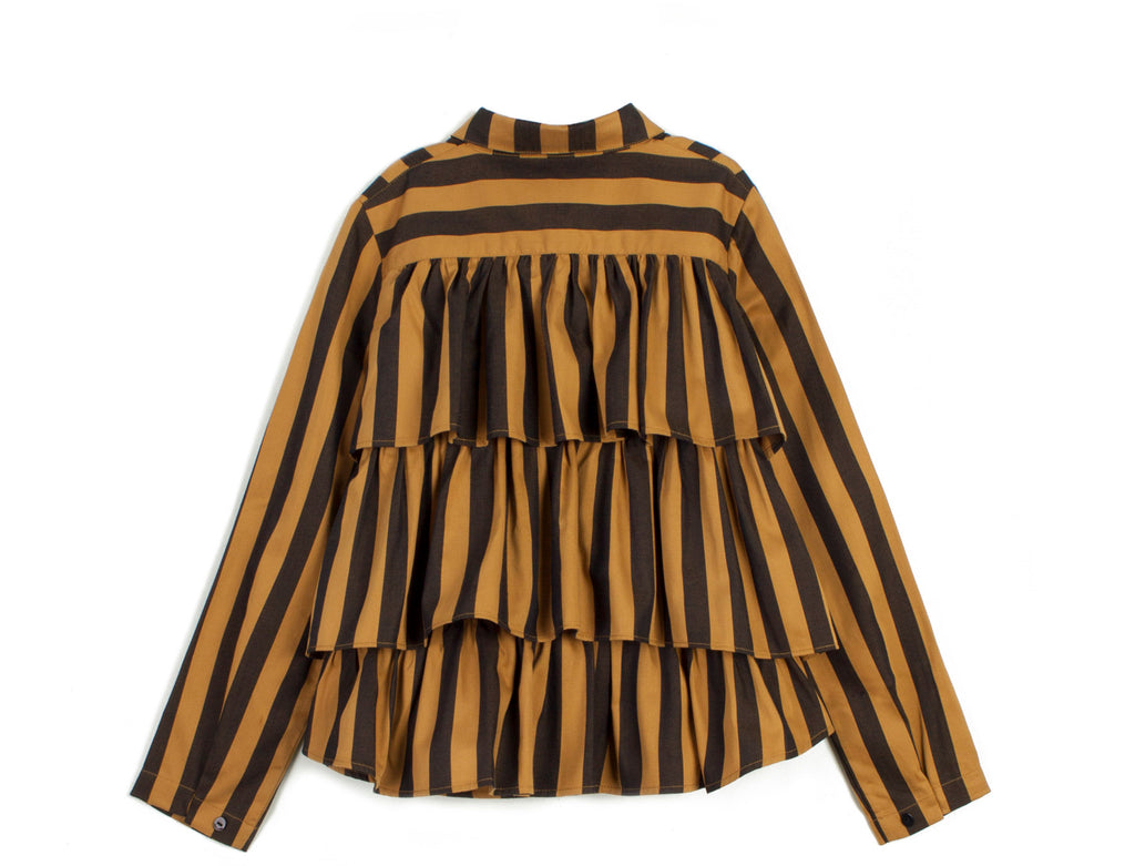 "WOLF AND RITA ""Freedom Blues"" Denise Blouse in Honey and Stripes"