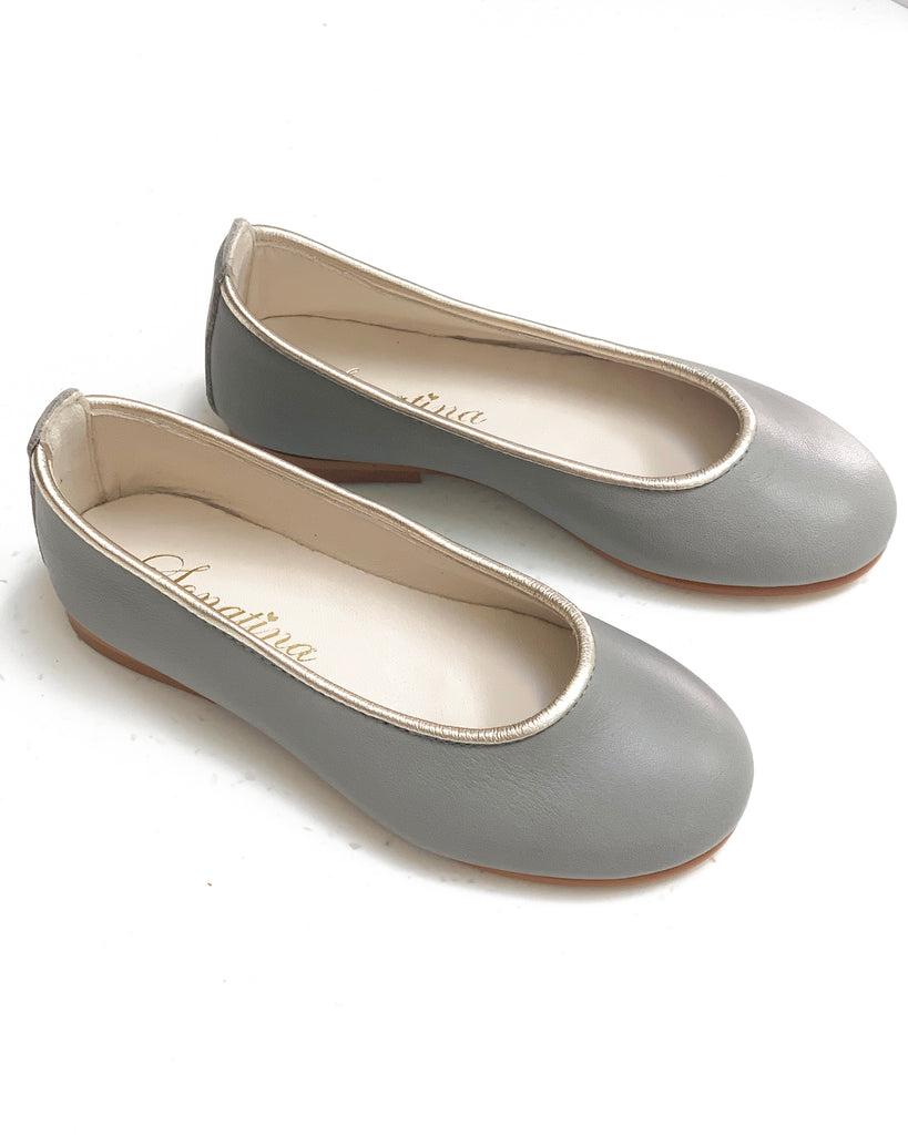 SONATINA Grey Leather Ballerina Shoes with Gold trim