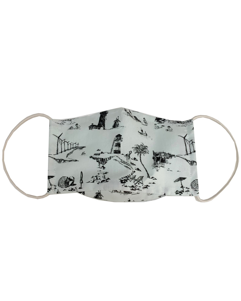 ORGANIC COTTON Beach Print Three Layer Mask with Filter Pocket
