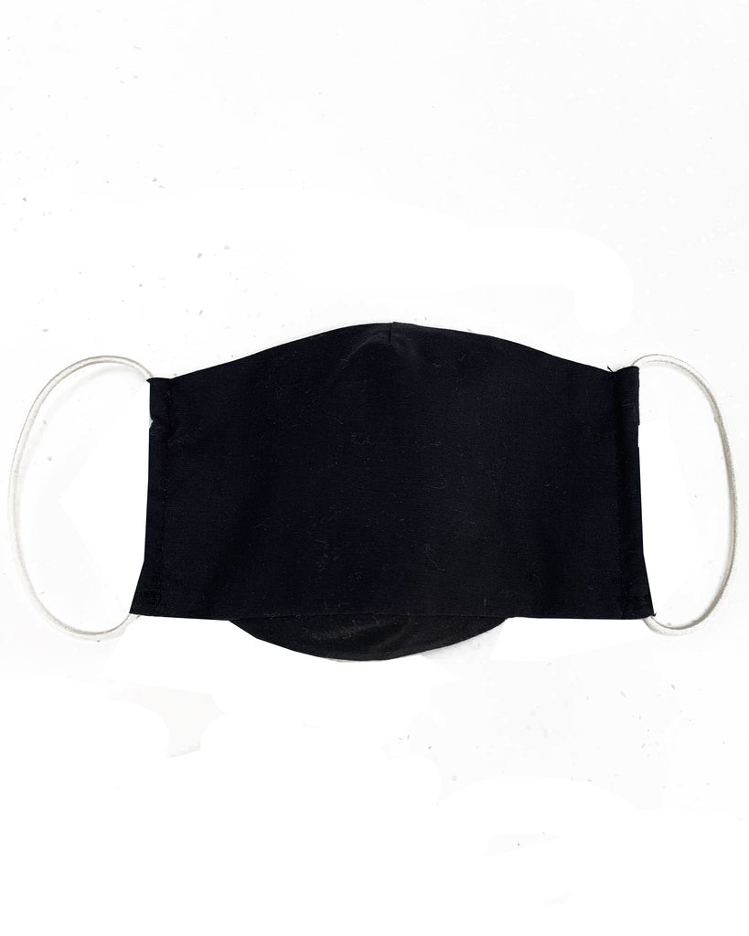 ORGANIC COTTON Black Three Layer Mask with Filter Pocket