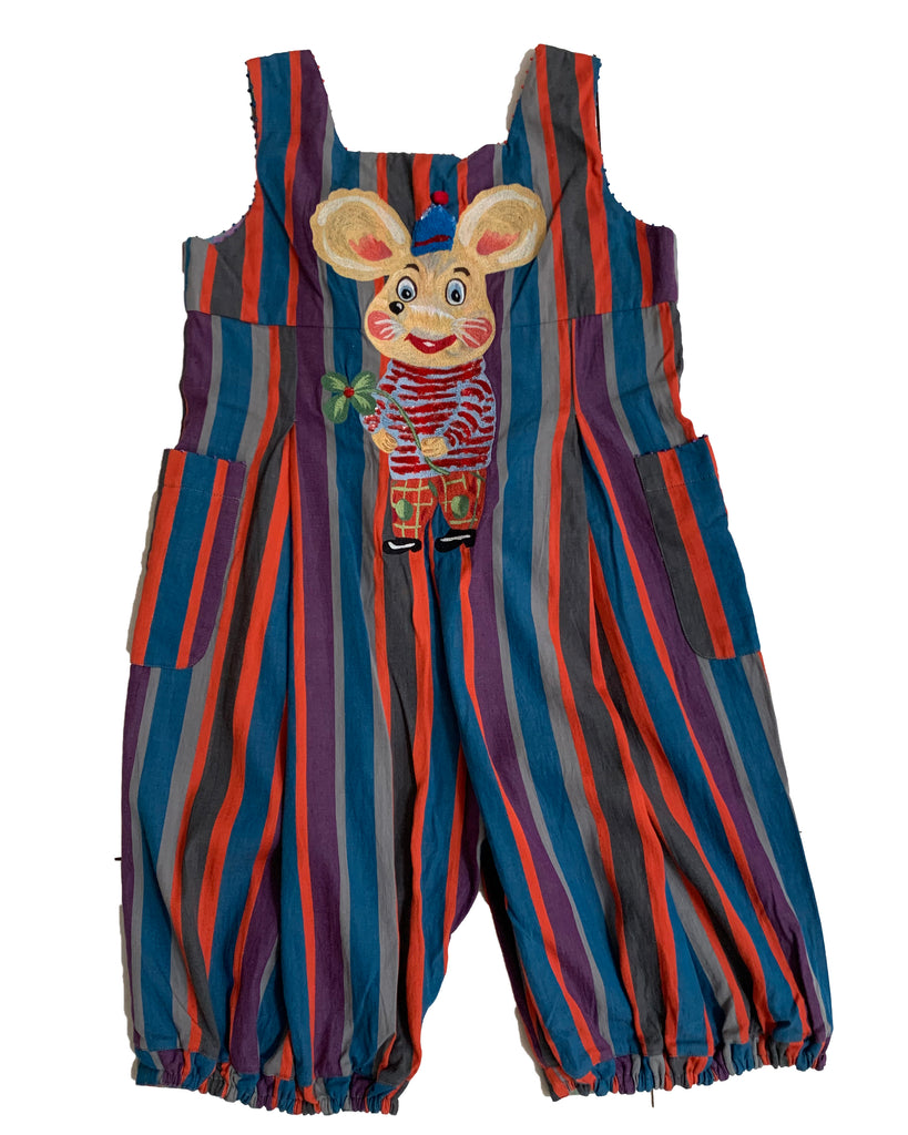 PERO KIDS Striped Overalls with Natalie Lete Embroidery on the Back