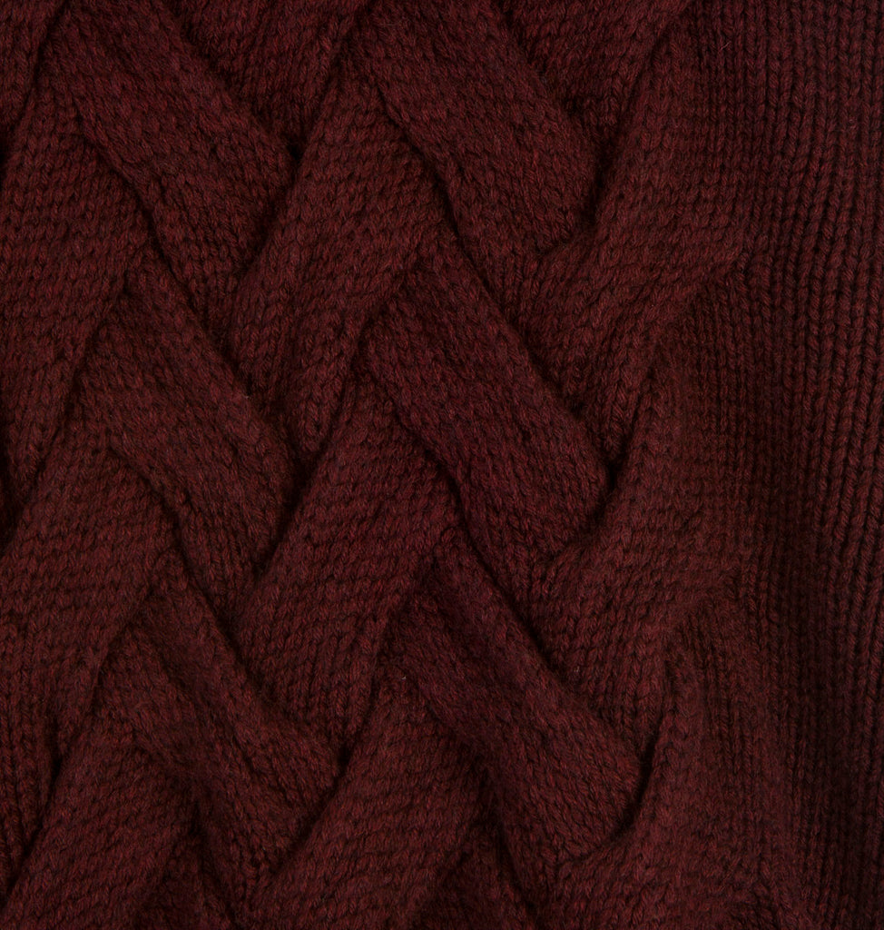 "WOLF AND RITA ""Freedom Blues"" Julia Chunky-Knit Skirt in Bordeaux"