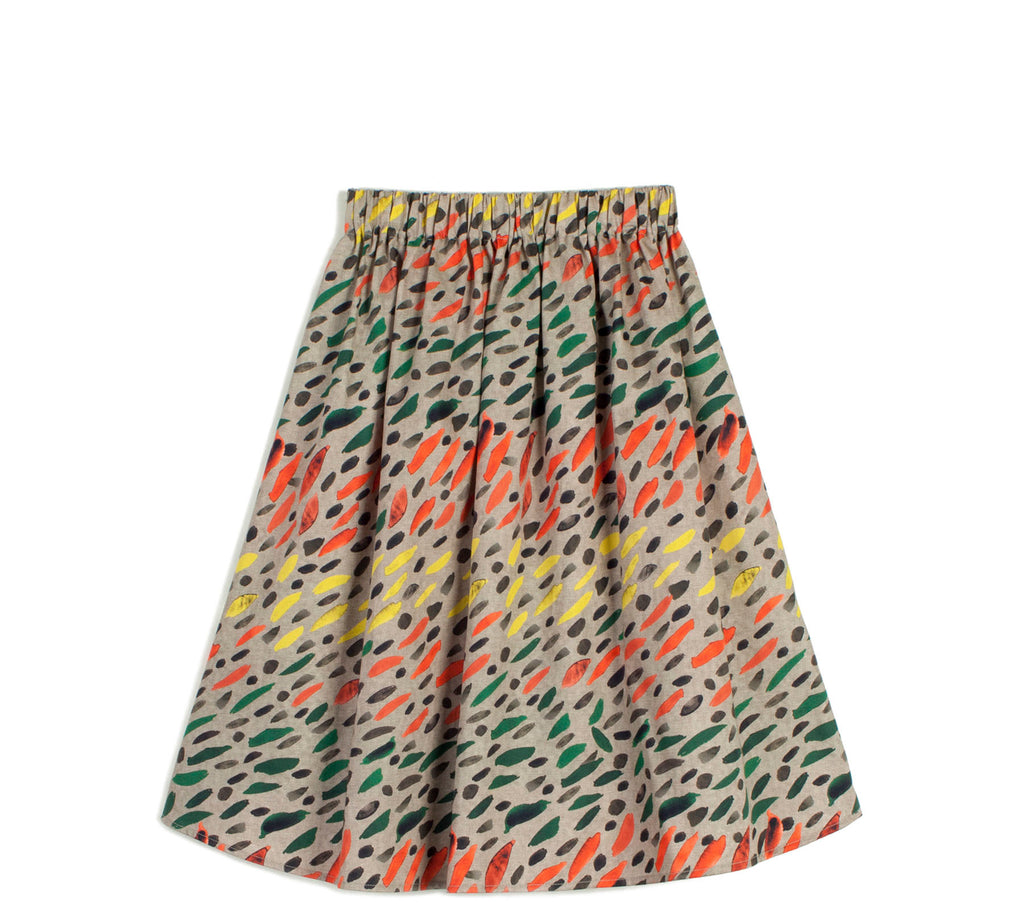 "WOLF AND RITA ""Freedom Blues"" Lourdes Pull-on Skirt in Winter Grass"
