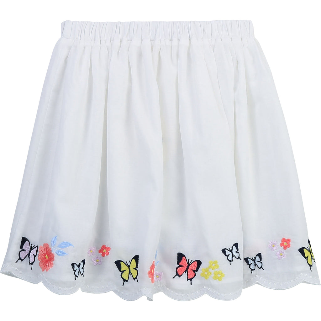CHARABIA Off-White Scalloped Skirt with Butterfly Embroidered Hem