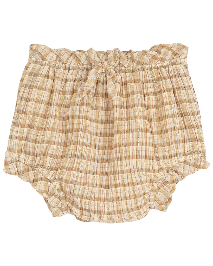 EMILE ET IDA Baby Gingham Check Cotton Lurex Bloomers