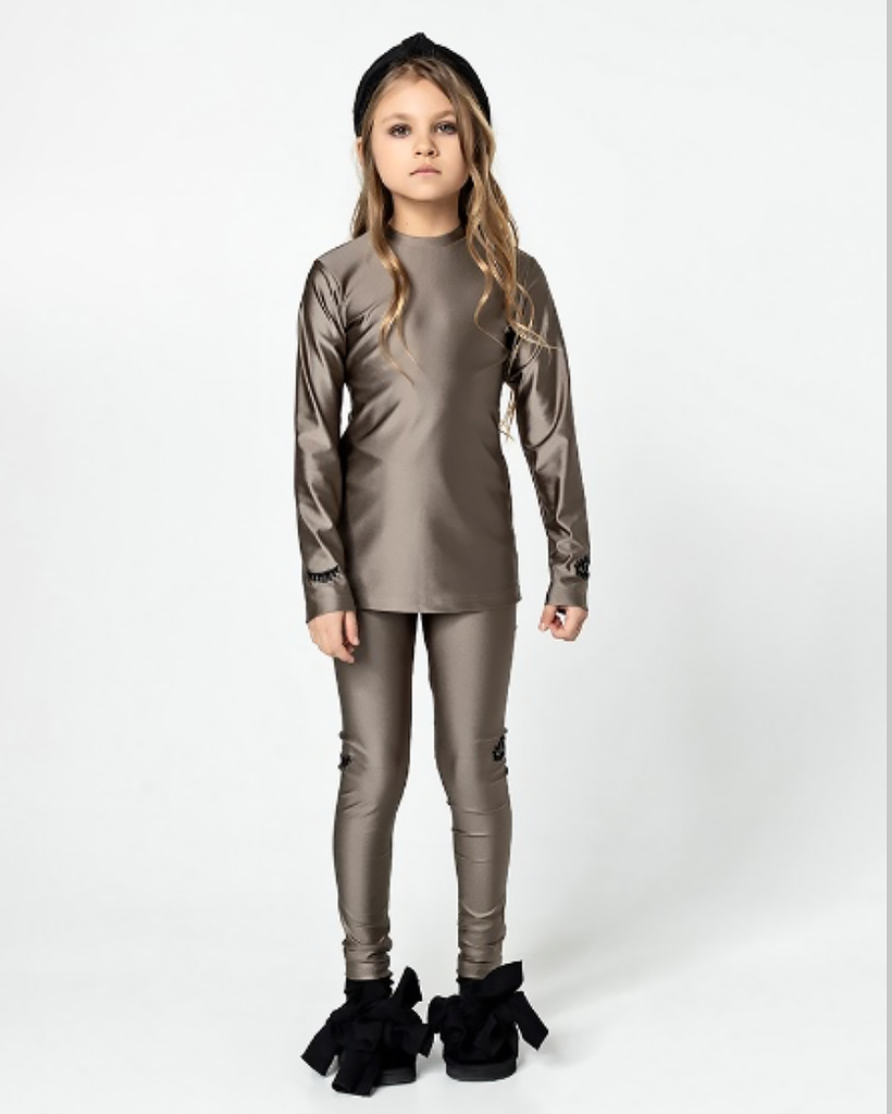 UNLABEL Milk Chocolate Eye Emblem Leggings