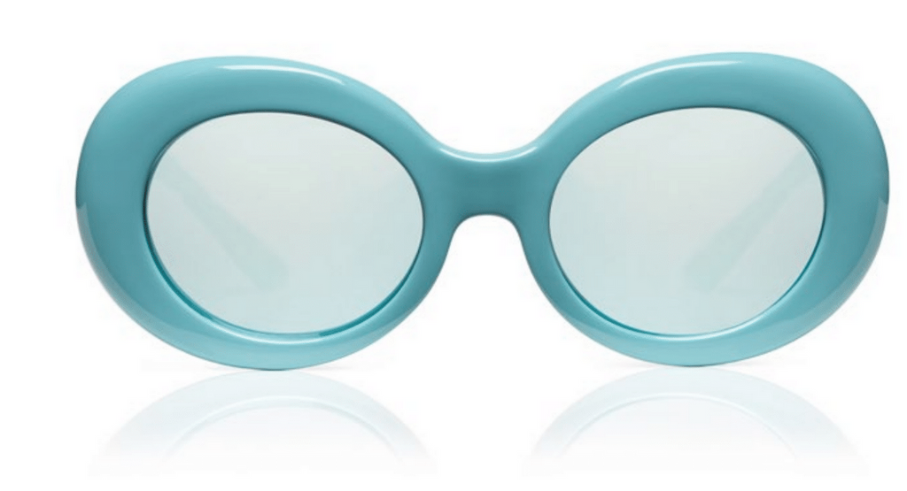 SONS + DAUGHTERS Kurt Oval Sunglasses in Aqua with Blue Revo Lens
