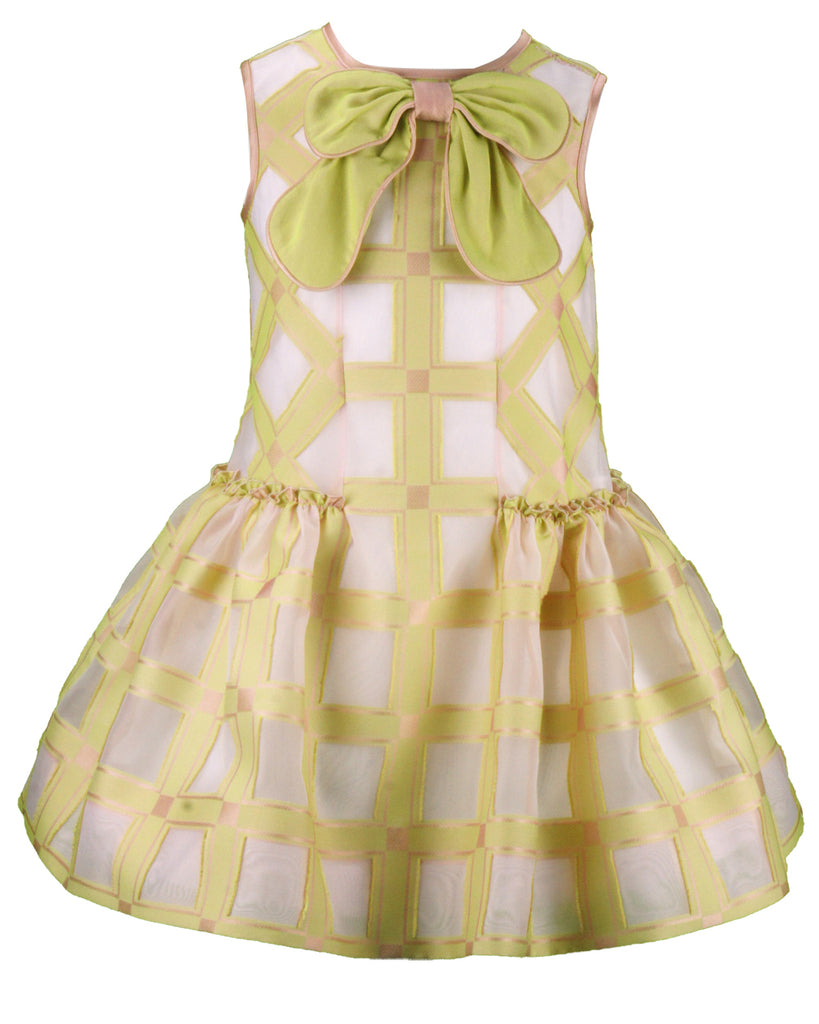 VALMAX Yellow Check Satin Dress with Bow