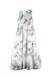 VALMAX Graffiti Maxi Dress with Frilled Collar