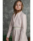 UNLABEL Goji Cropped Blazer in Faux Leather Pink