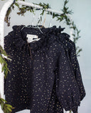 COSMOSOPHIE Coquette Long Sleeve Blouse in Confetti Black