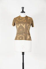 Paisley patterned short sleeve silk top by Voyage at Isabella's Wardrobe