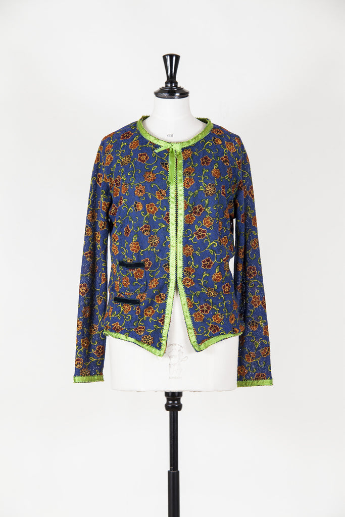 Flower embroidered cardigan with satin trim by Voyage
