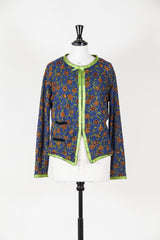 Flower embroidered cardigan with satin trim by Voyage at Isabella's Wardrobe