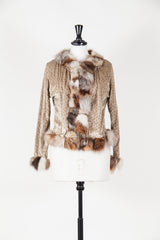 Jacket with gold threads and fur trim by Voyage at Isabella's Wardrobe