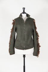 Heavy knit cardigan with leather and mink trim by Voyage at Isabella's Wardrobe