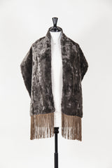 Faux fur stole with faux suede fringes by Voyage at Isabella's Wardrobe