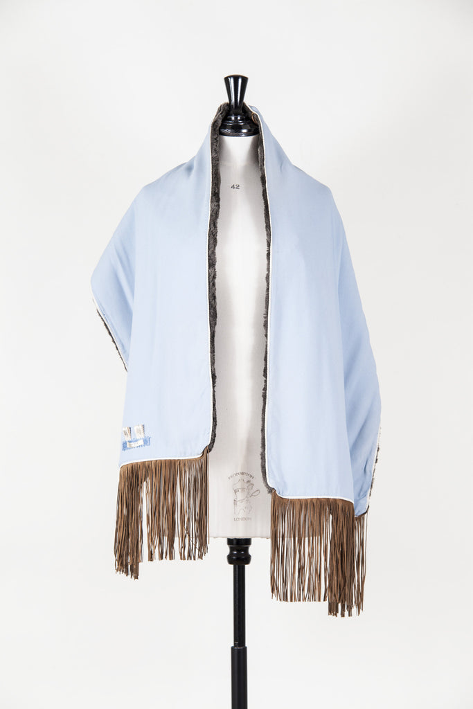 Faux fur stole with faux suede fringes by Voyage
