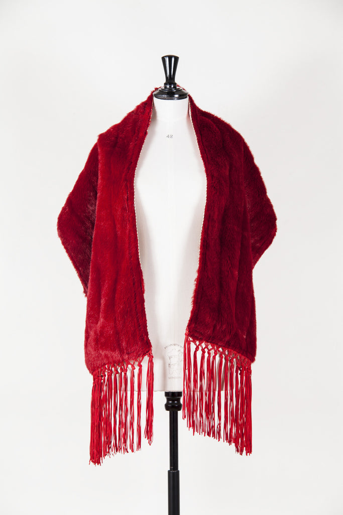 Faux fur stole with tassels by Voyage