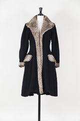 Full-length coat with faux fur trim by Voyage at Isabella's Wardrobe
