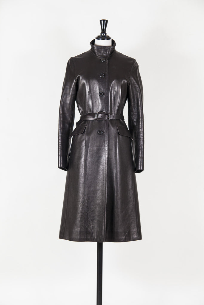 Belted leather coat by Prada