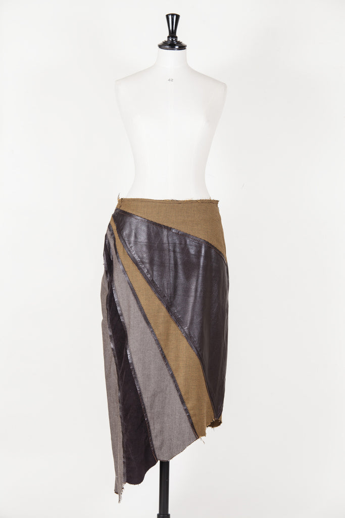 Leather and material panelled skirt by Voyage