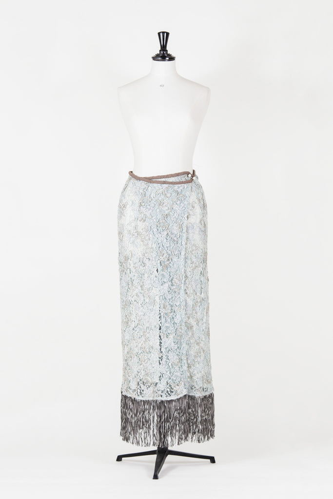 Lace wraparound-effect maxi skirt by Voyage