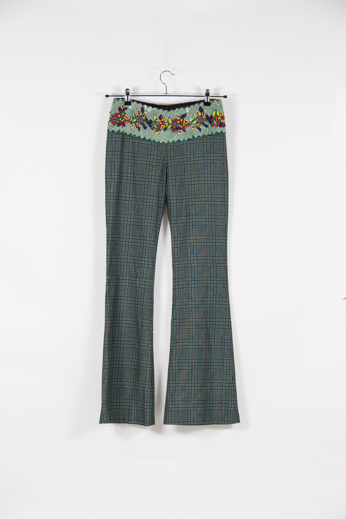 Checked trousers with beaded detail by Voyage