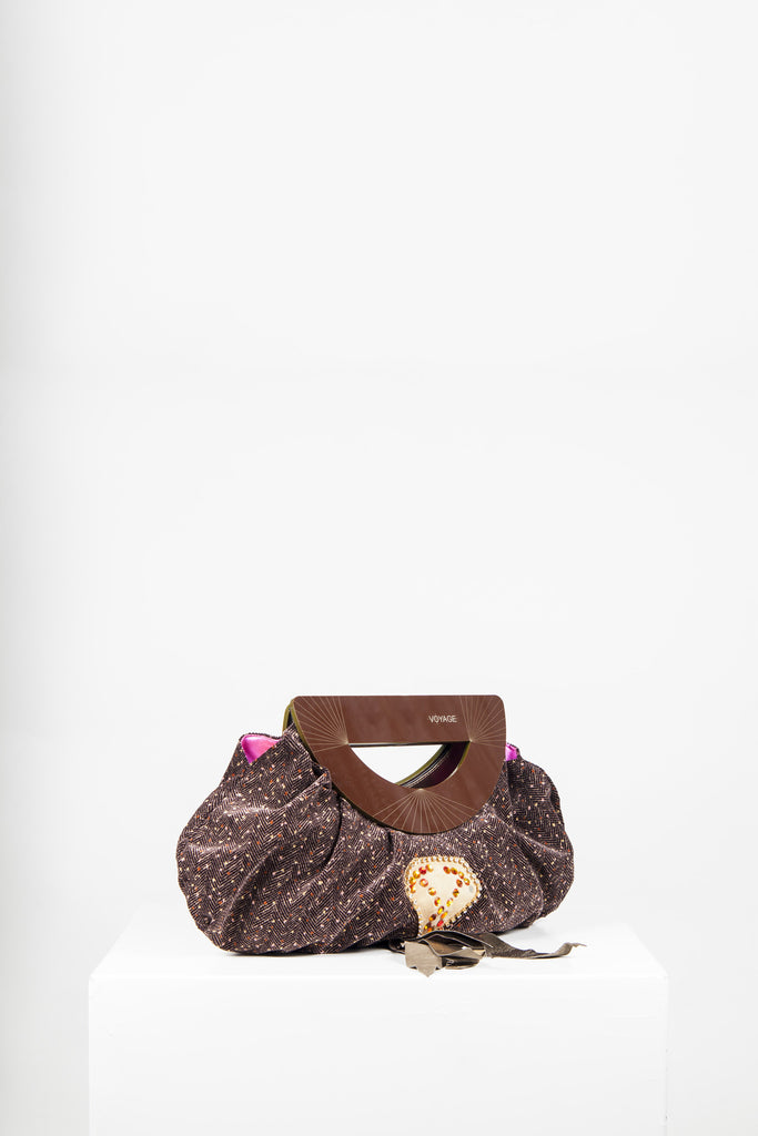 Tweed effect bag with cut-out handles by Voyage