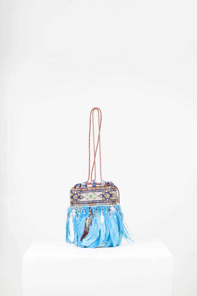 Leather and feather bag by Voyage