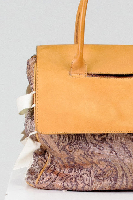 Leather and tapestry tote by Ports 1961