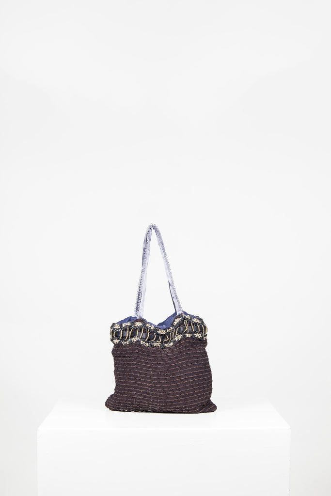 Purple beaded evening bag by Voyage