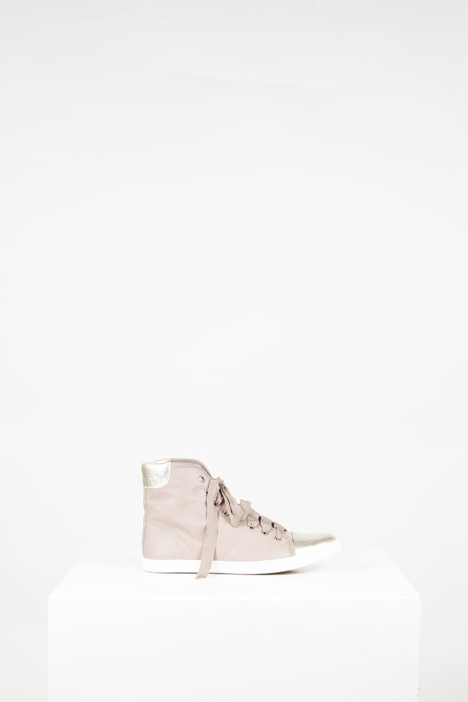 Leather high tops with gold detail by Lanvin
