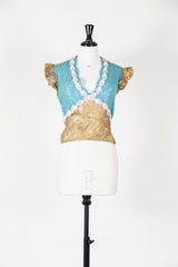 Metallic short-sleeved top with rose detail by Voyage at Isabella's Wardrobe