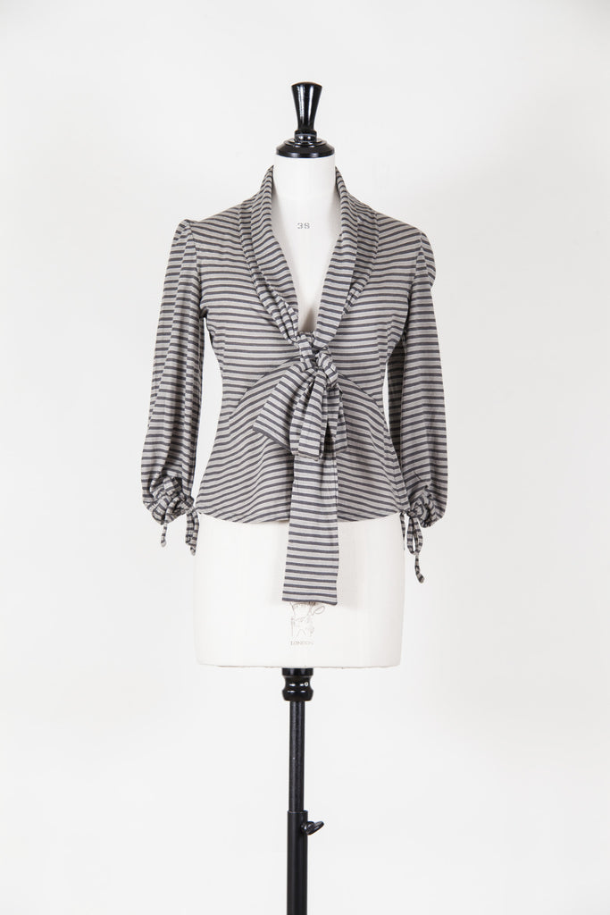 Stripey tie-neck top by Mulberry