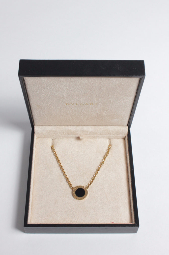 Gold Circular Onyx Pendant Necklace by Bulgari
