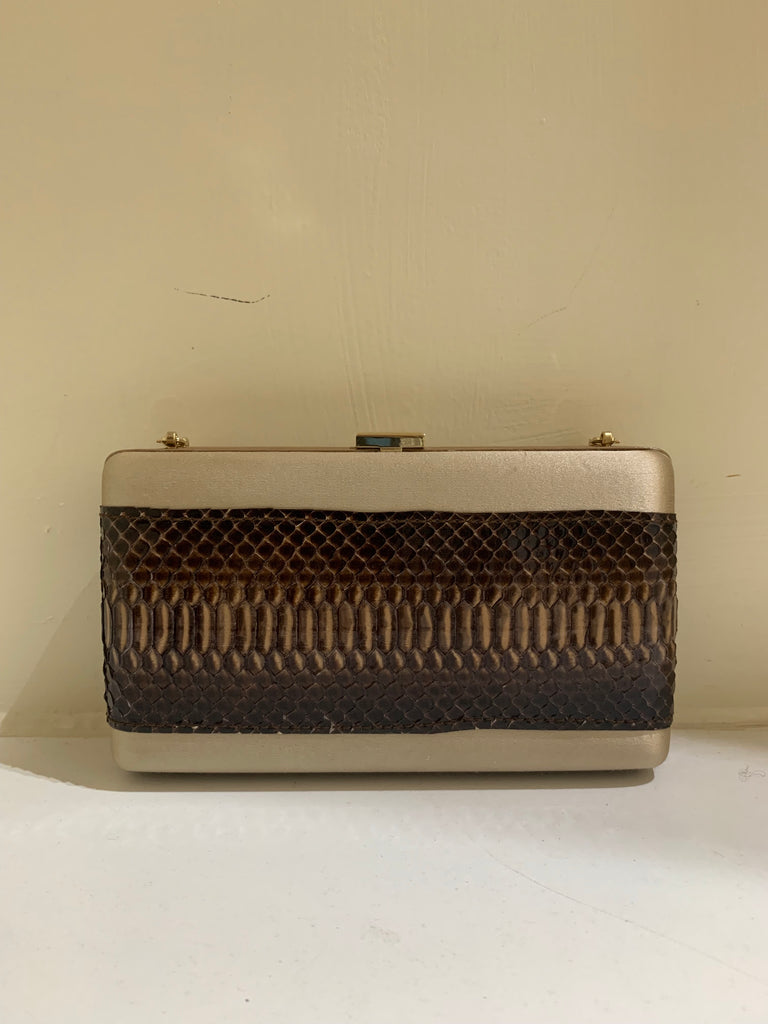 Snakeskin Box Clutch by Escada