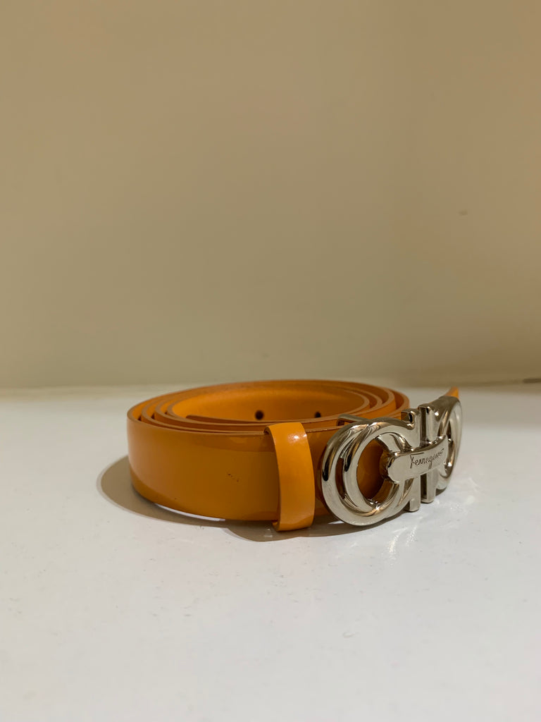 Orange Patent Belt by Salvatore Ferragamo