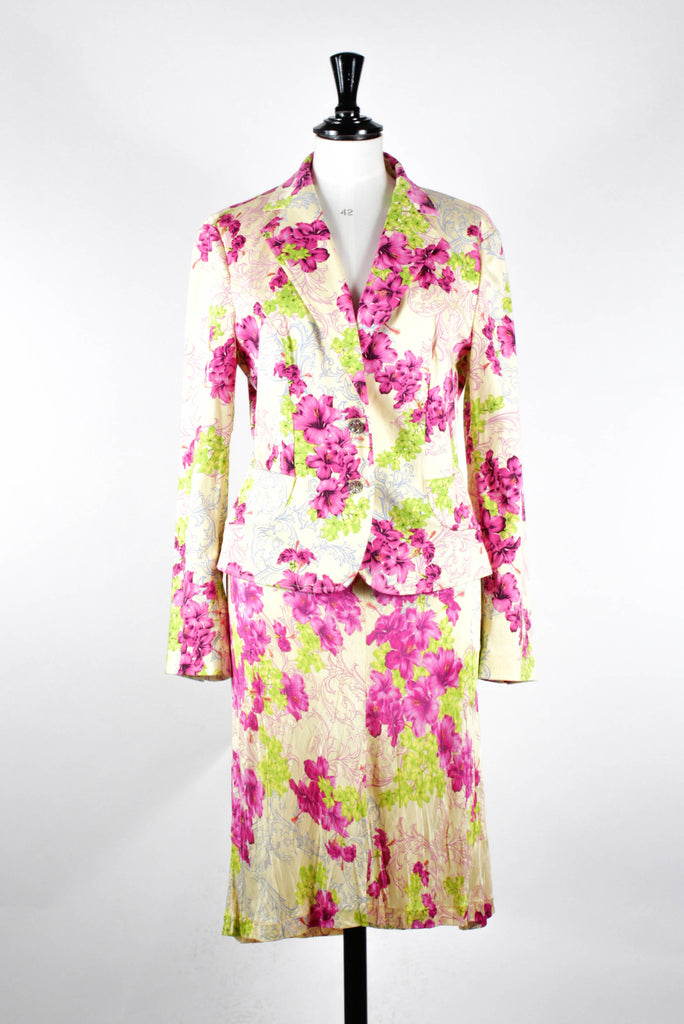 Floral Print Skirt Suit by Versace Classic