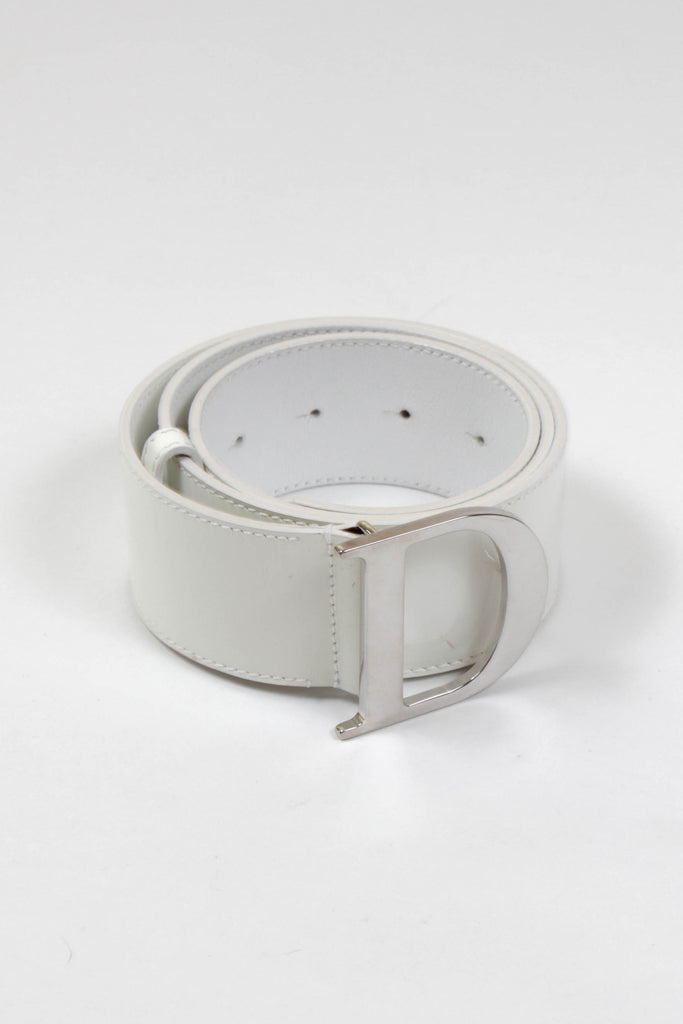 D' White Patent Belt by Christian Dior