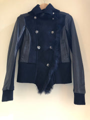 Leather and Sheepskin Doublebreasted Jacket by Patrizia Pepe at Isabella's Wardrobe