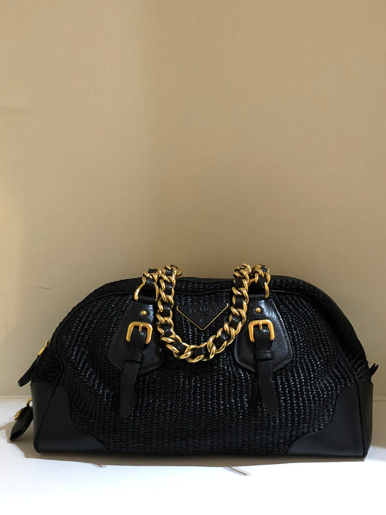 Raffia and Leather Chain Shoulder Bag by Prada