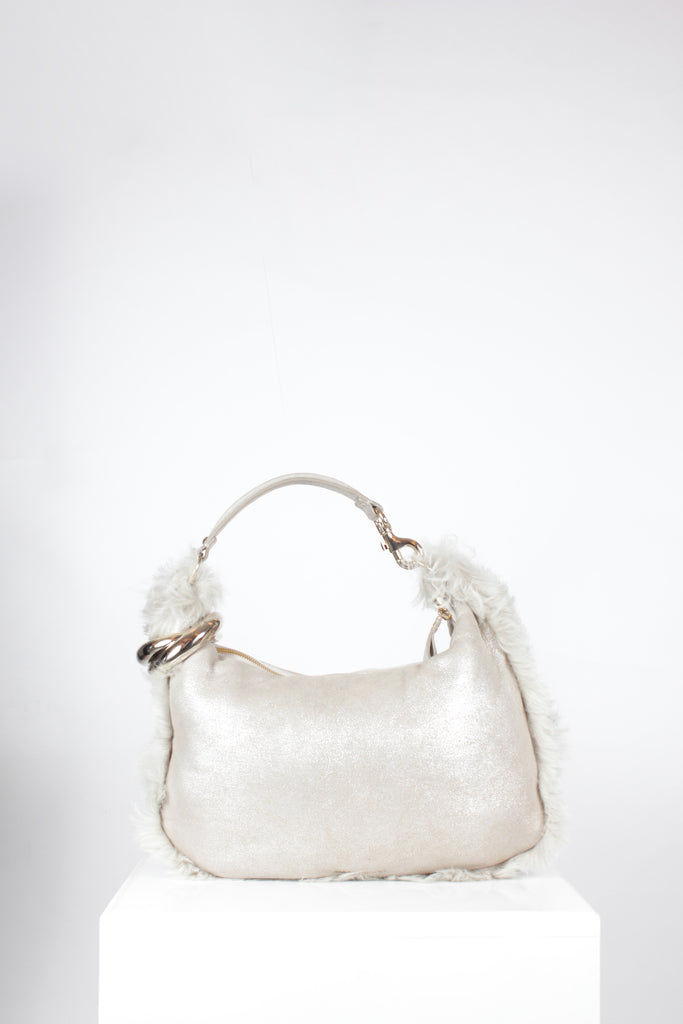Gold Solar Shearling Hobo by Jimmy Choo