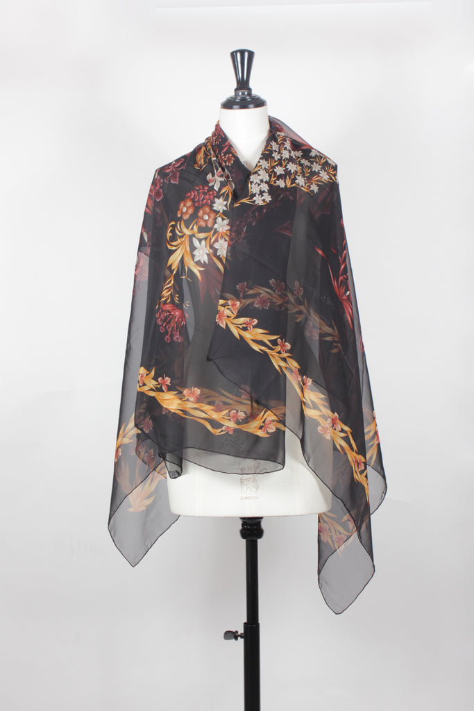 'Cheval Fleuri' Chiffon Silk Shawl by Hermes