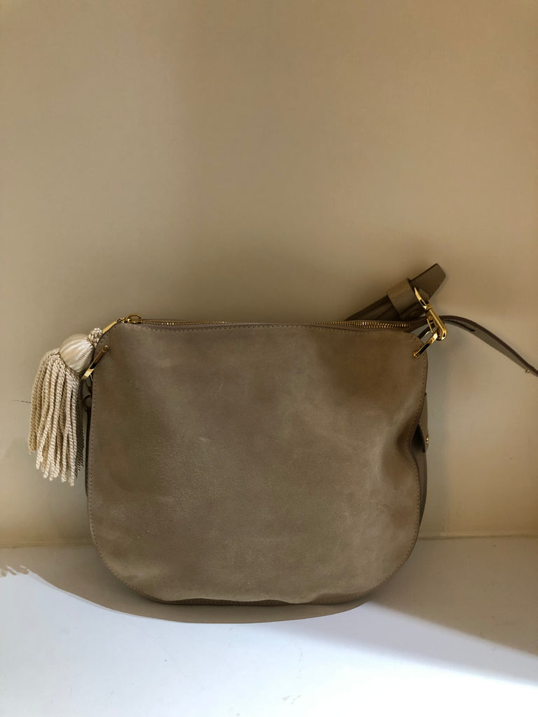 Flat Suede Zip Hobo Bag by Hillier Bartley