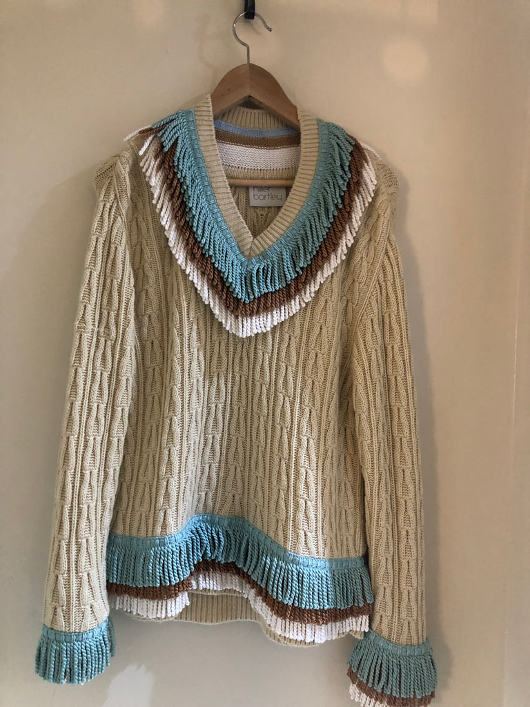 Cable Fringed Jumper by Hillier Bartley